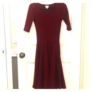 LuLaRoe Dresses - Dark Red XXS Lularoe Nicole Dress - GUC